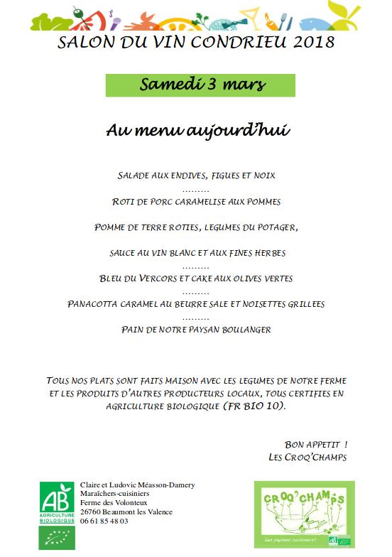 salon - menu samedi